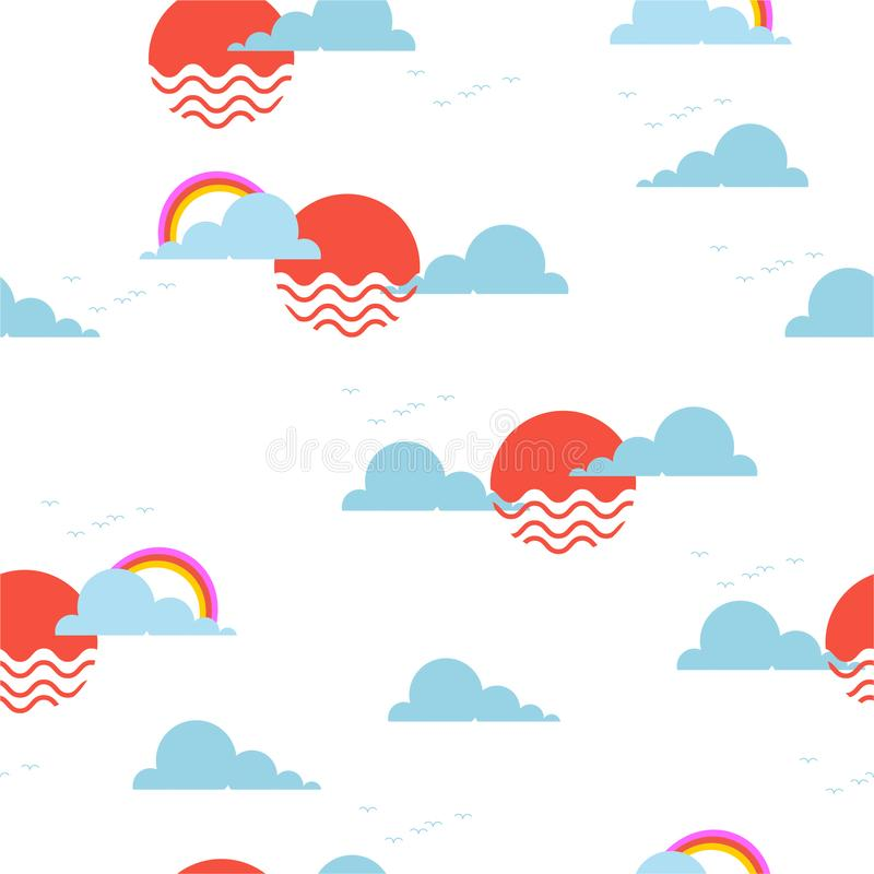 Sun and sky with rainbow and little birds  Seamless repeating pattern Vector illustration design for textile graphics, fashion stock illustration