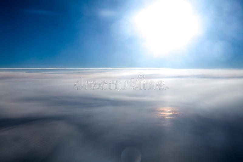 The sun and the sky up side from a plane. royalty free stock image