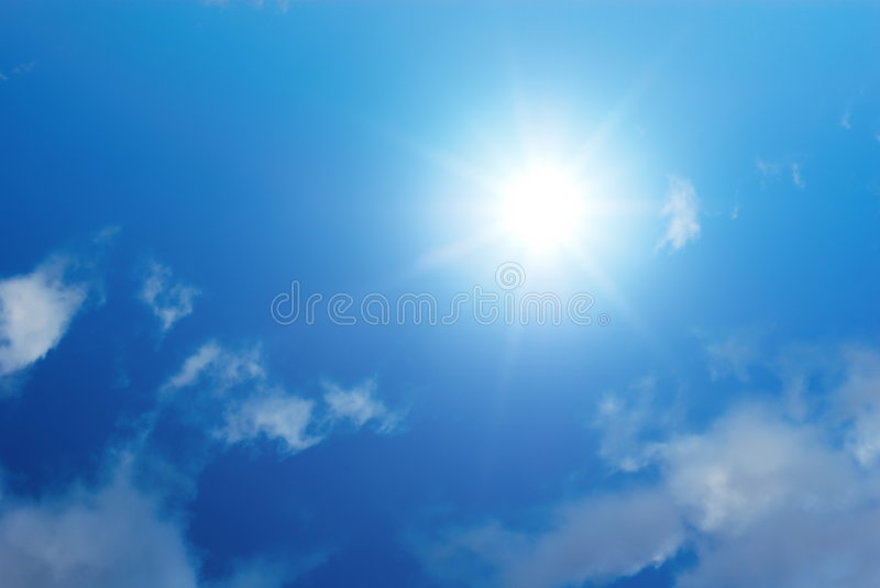 Sun sky and white clouds royalty free stock image