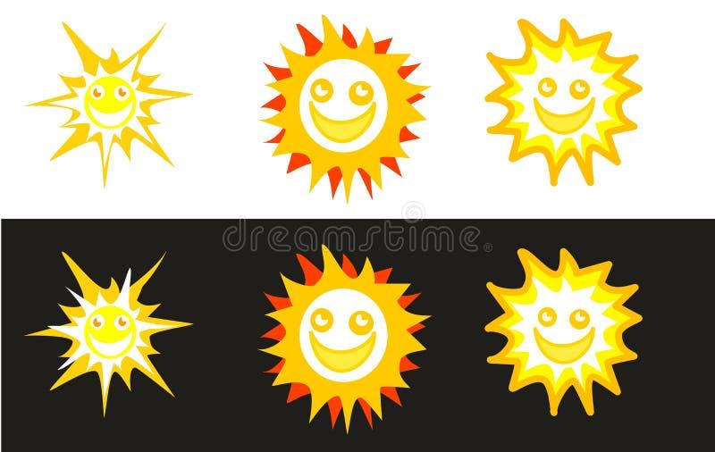 Sun-smiley in den weißen und schwarzen Hintergründen stock abbildung