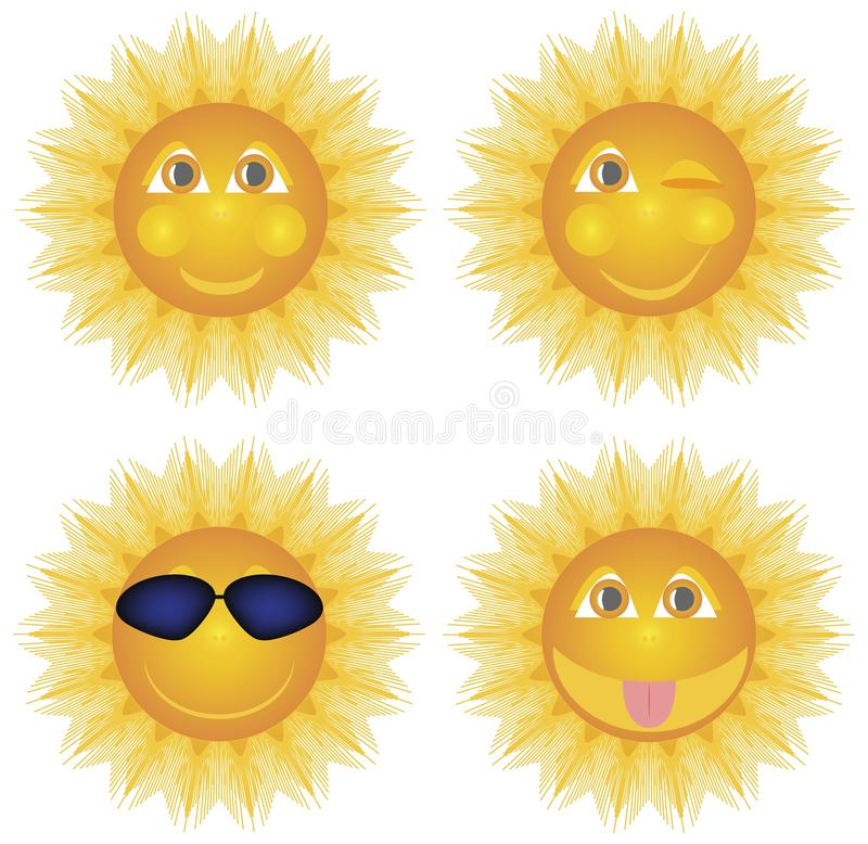 Sun smiling winks in glasses shows tongue, set. royalty free illustration