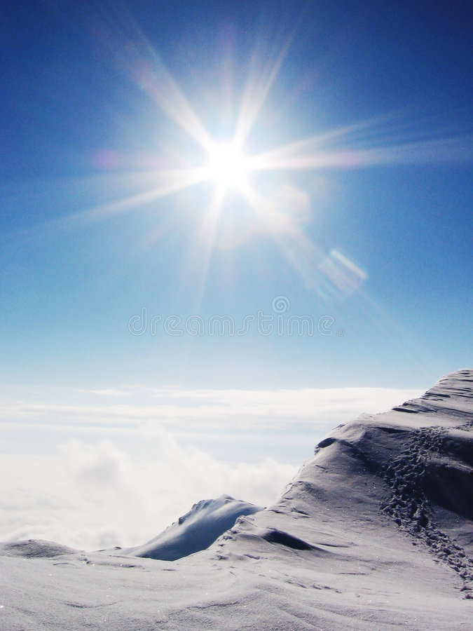 Sun and snow royalty free stock photo
