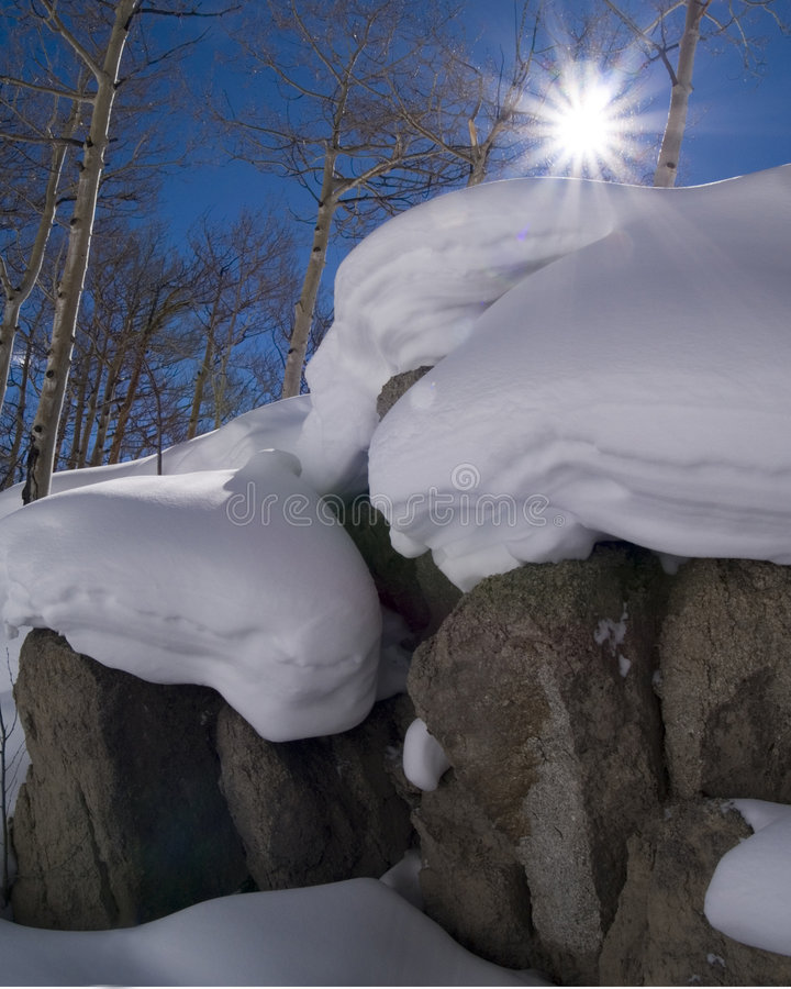 Sun, Snow, and Colorado Rocky Mountains. The Beauty of the Colorado Rocky Mountains stock photos