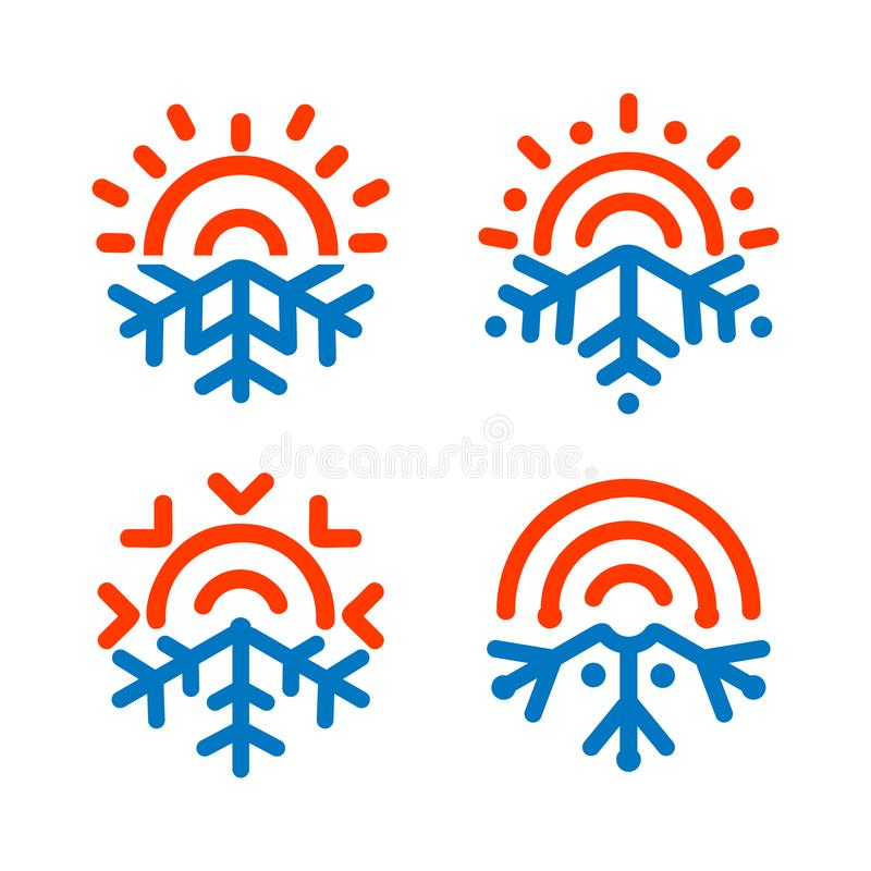 Sun and snowflake emblems. Weather, temperature icon. Freezing, heating, sunny, frosty vector symbols. Any weather vector illustration