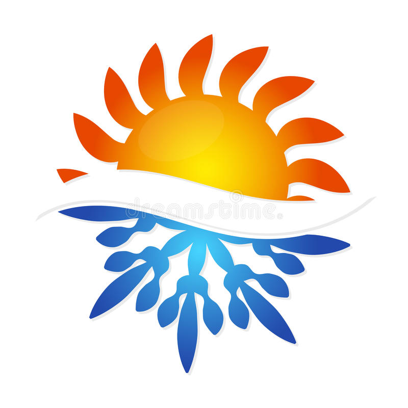 Sun and snowflake symbol air conditioning. Business vector illustration