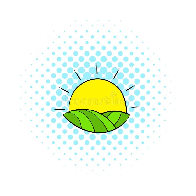 Sun sobre campos del icono de Francia, estilo de los tebeos libre illustration