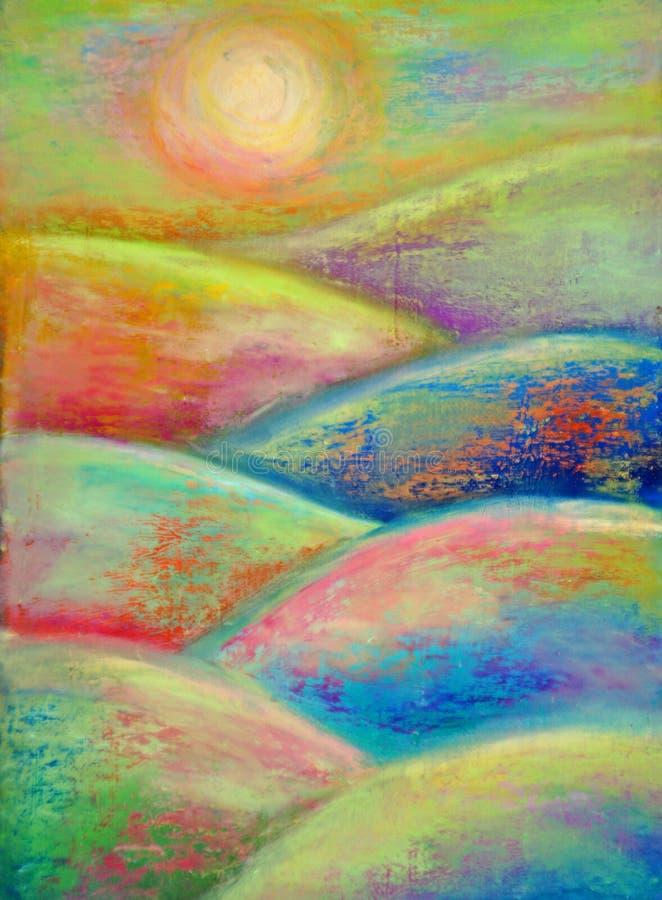 Sun sobre campos y colinas coloridos ilustración del vector