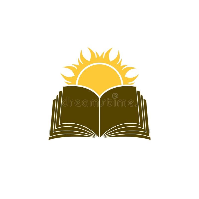 Sun sobre el logotipo del libro, conocimiento, concepto de la biblioteca libre illustration