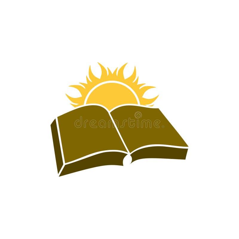 Sun sobre el logotipo del libro, conocimiento, concepto de la biblioteca ilustración del vector