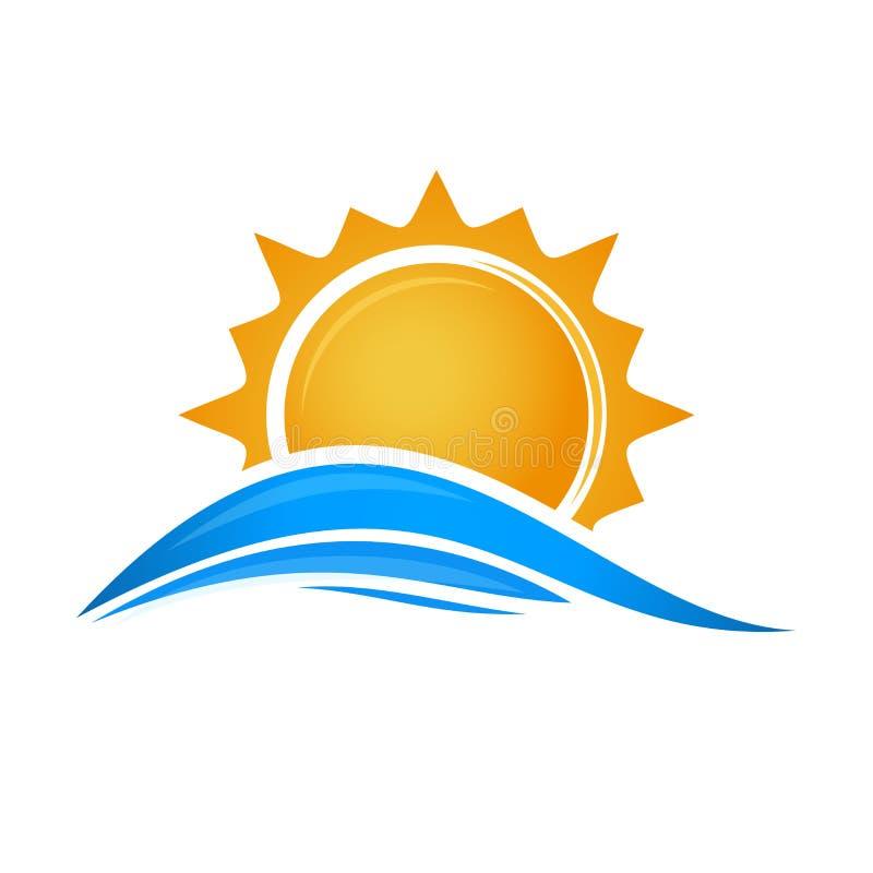 Sun sobre ondas del mar Sun Logo Icon ilustración del vector