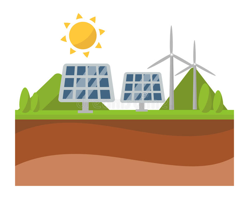 Sun solar energy panel and windmill power electricity technology vector. Vector sun solar energy icon symbols electricity technology renewable ecology vector illustration