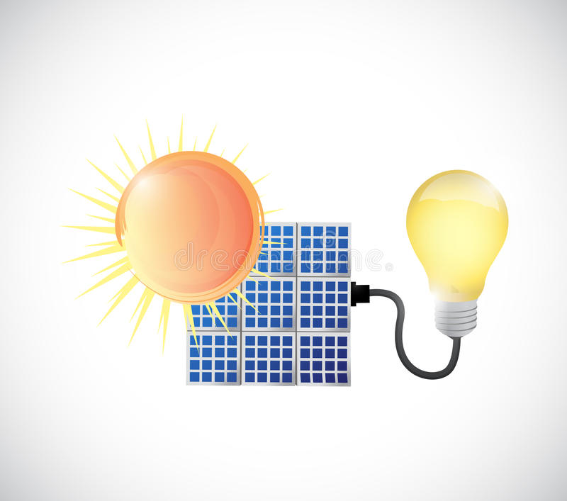 Sun, solar panel and energy illustration royalty free illustration