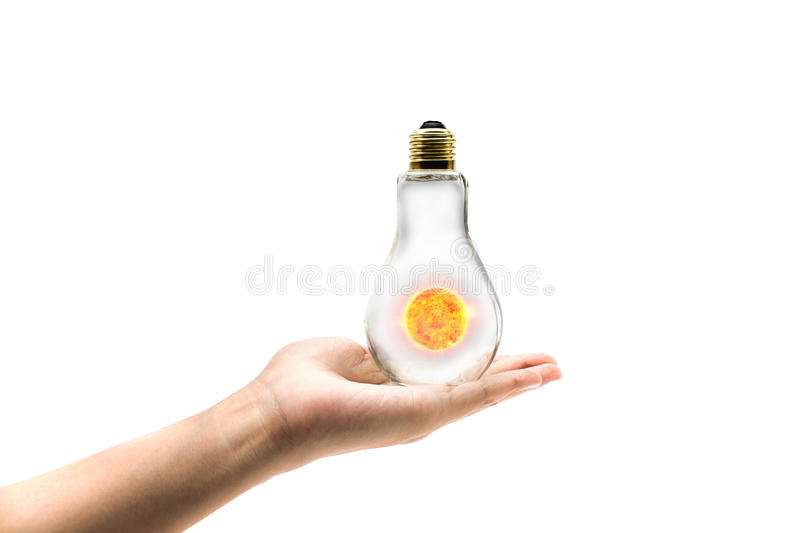 Sun solar power energy concept idea in isolated background. Design royalty free stock photos