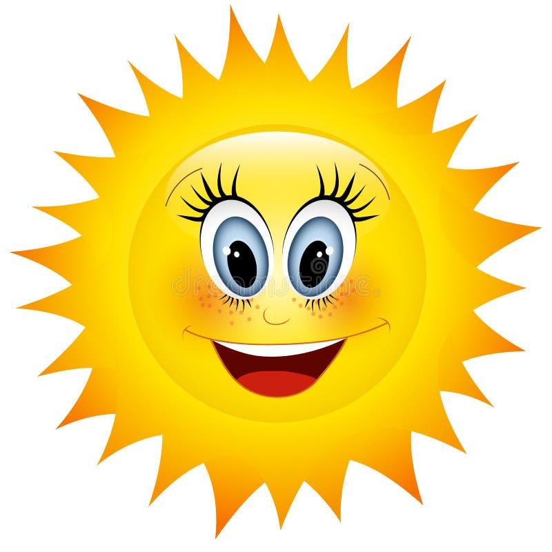 Sun sonriente stock de ilustración