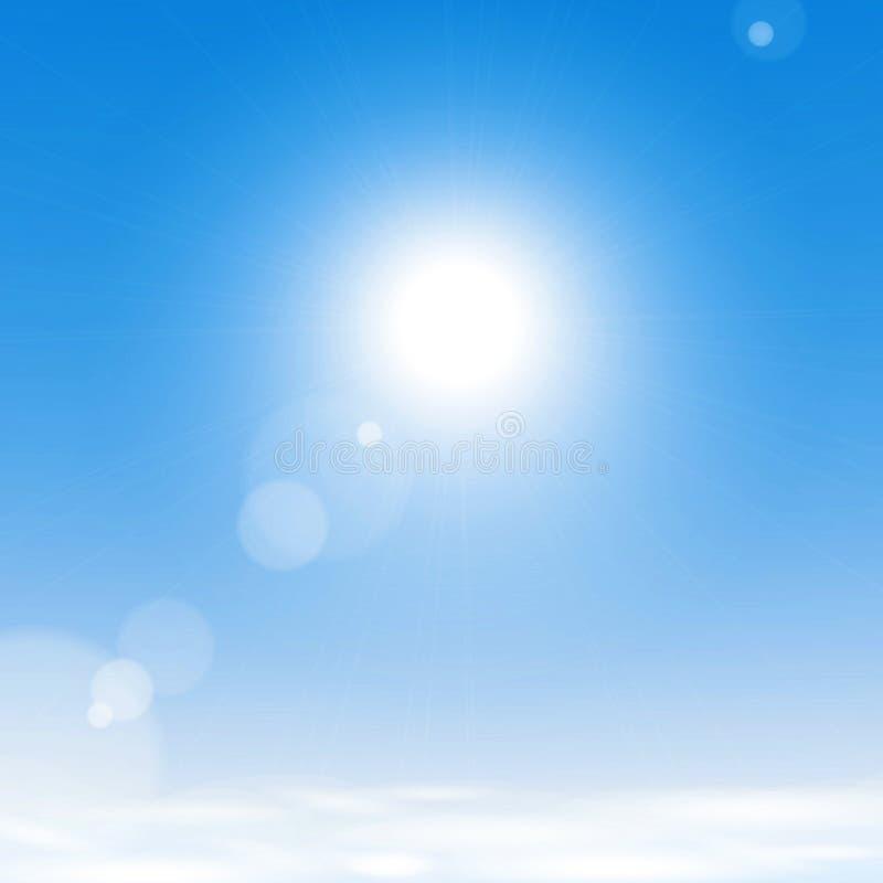 Sun sopra le nubi nel cielo blu illustrazione vettoriale