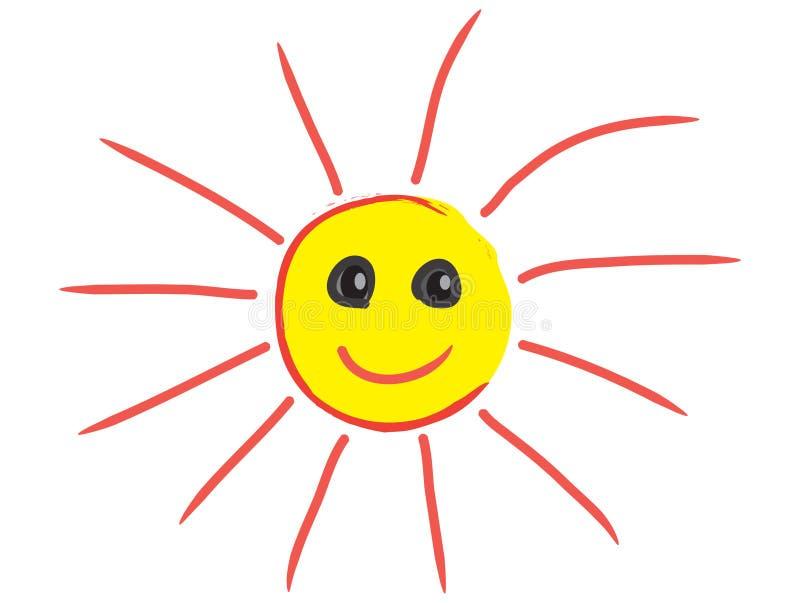 Sun sorridente Sun felice Sun illustrazione vettoriale
