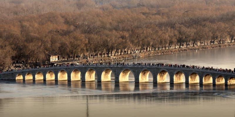 Sun sotto il ponte nel palazzo di estate a Pechino, Cina immagini stock libere da diritti