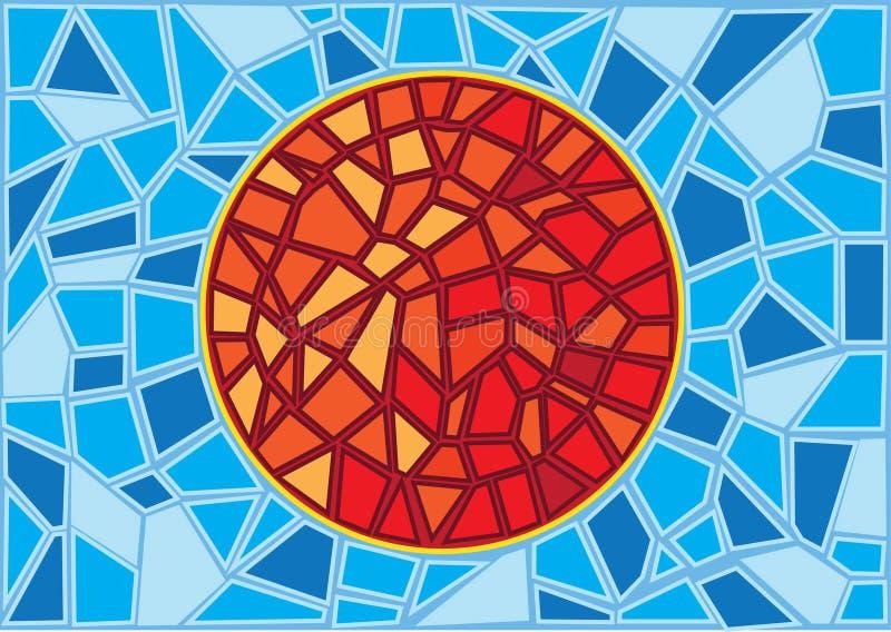 Sun a souillé le fond en verre de tache floue illustration libre de droits