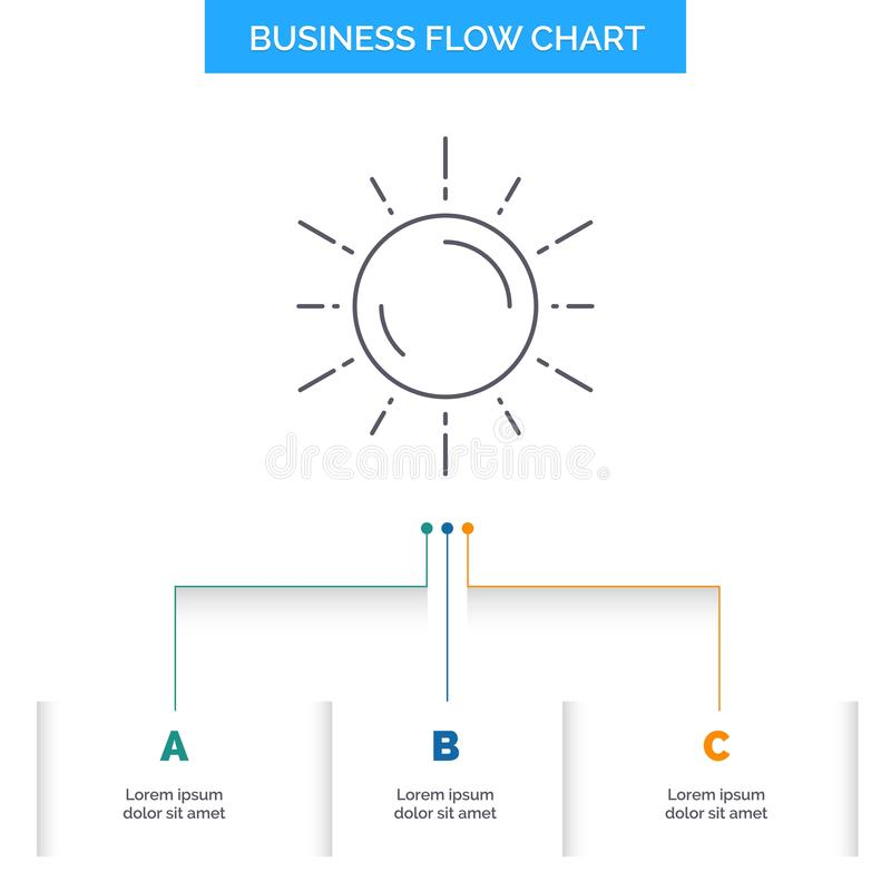sun, space, planet, astronomy, weather Business Flow Chart Design with 3 Steps. Line Icon For Presentation Background Template stock illustration