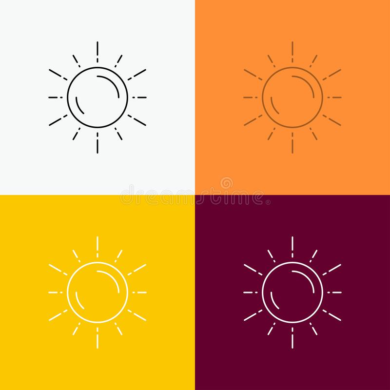 sun, space, planet, astronomy, weather Icon Over Various Background. Line style design, designed for web and app. Eps 10 vector vector illustration