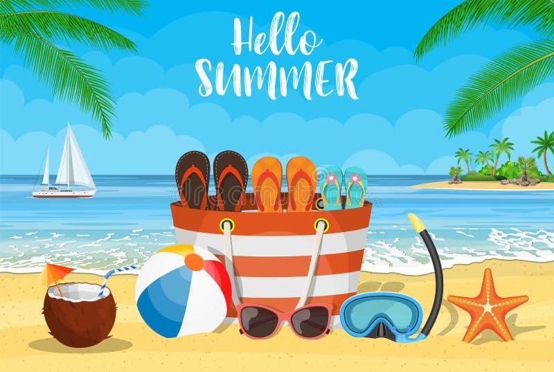 Sun, sparkling ocean and palms. stock illustration