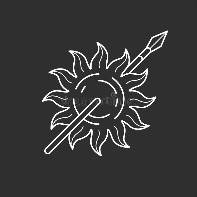 Sun and spear icon. In thin outline style. Vector illustrations stock illustration