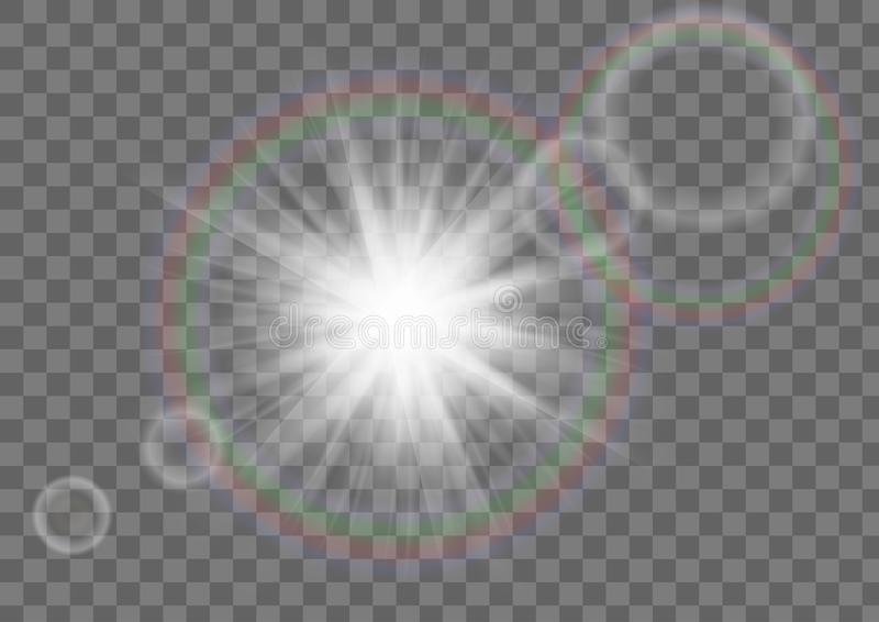 Sun Star Sparkle With Lens Flare Effect On Transparent Background. stock illustration