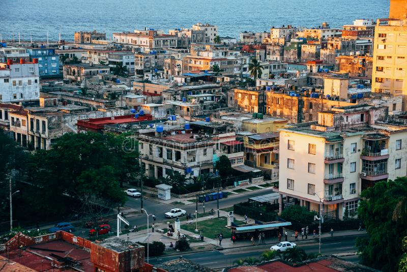 The city of Havana, Cuba. The sun starts to set on the city of Havana, Cuba royalty free stock images