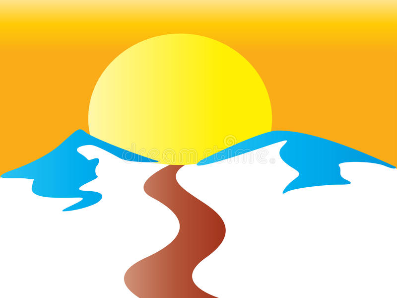 Sun stigning royaltyfri illustrationer