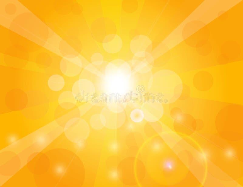 Sun strålar på orange bakgrundsillustration vektor illustrationer