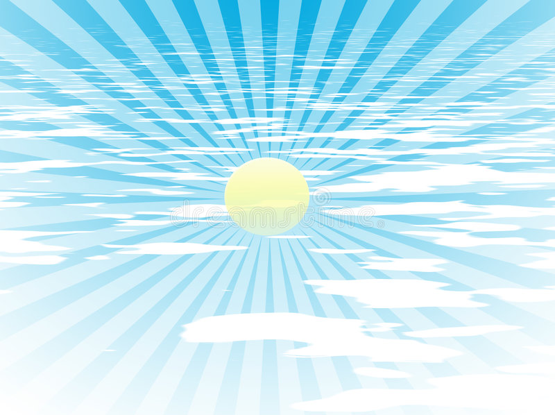 Sun-Strahlen im blauen Himmel lizenzfreie abbildung
