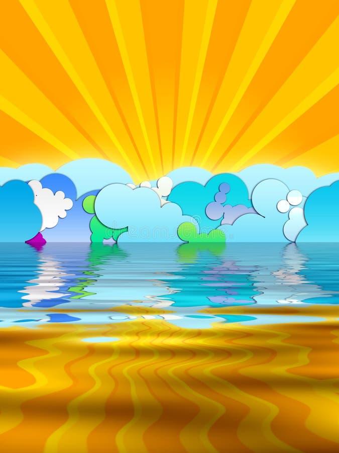Sun-Strahlen und Karikatur-Wolken lizenzfreie abbildung