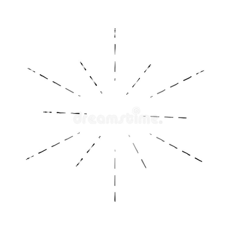 Sun strahlt die gezeichnete Hand, lineare Zeichnung aus Stellen Sie von den Retro- hellen Strahlen ein, lokalisiert auf weißer sc stock abbildung