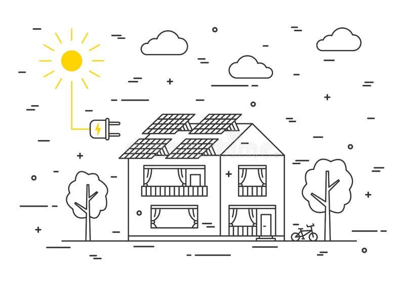 Sun-Stromhaus-Vektorkonzept stock abbildung