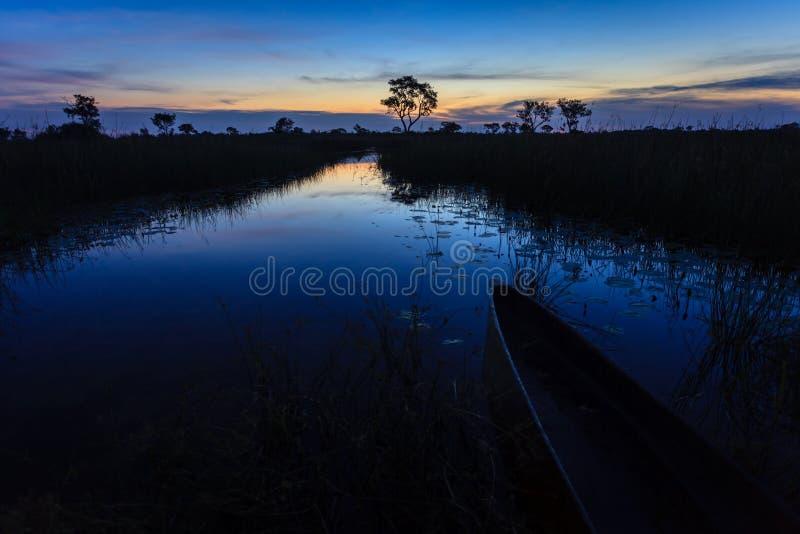 Sun sube como el amanecer se rompe en el pantano, Botswana, África fotografía de archivo