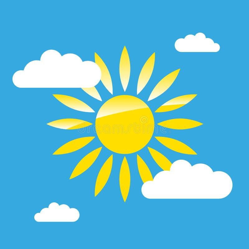 Sun sul grafico semplice del cielo illustrazione di stock
