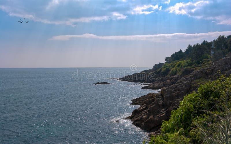 Sun sulla costa di Bretagna immagini stock libere da diritti