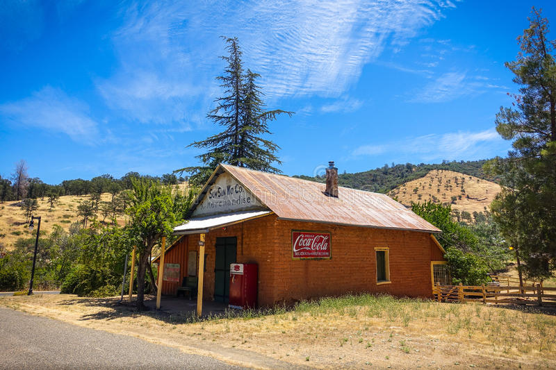 Sun Sun Wo Co Historic Site in Coulterville, California. Coulterville, California - July 27, 2014: The Sun Sun Wo Co Mercantile store is the last remnant of what stock photography