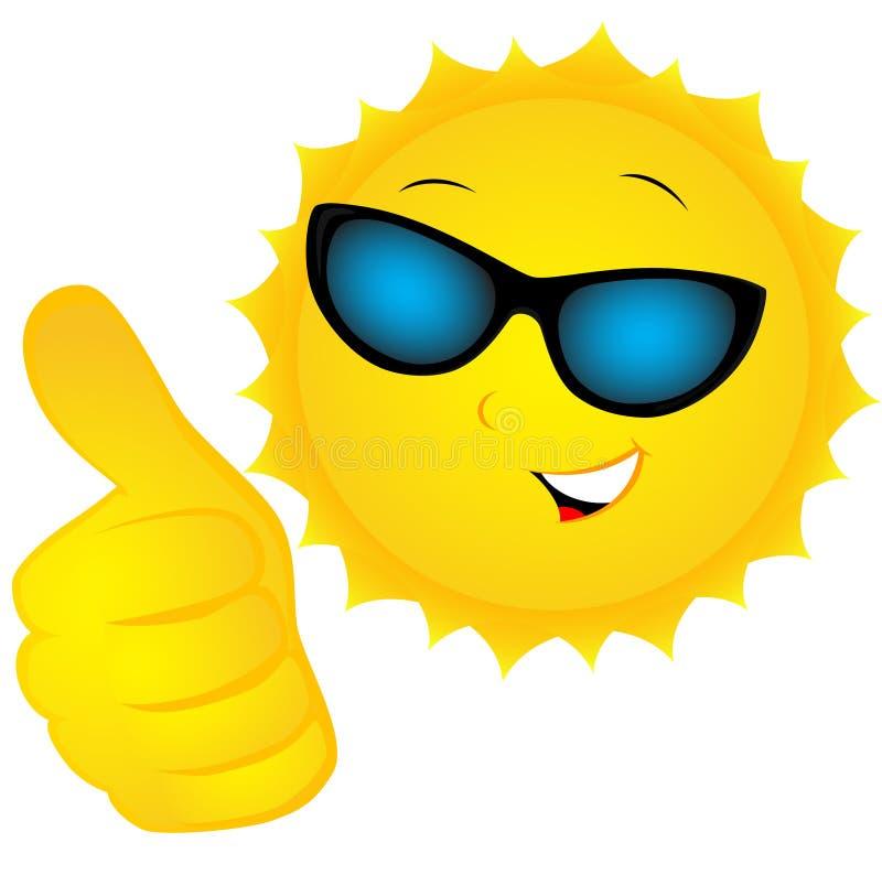 The sun in sunglasses stock illustration