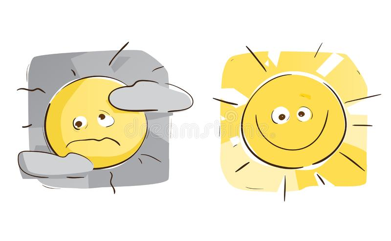 Sunny Day VS Cloudy Day. Sun On a Sunny Day VS Cloudy Day stock illustration