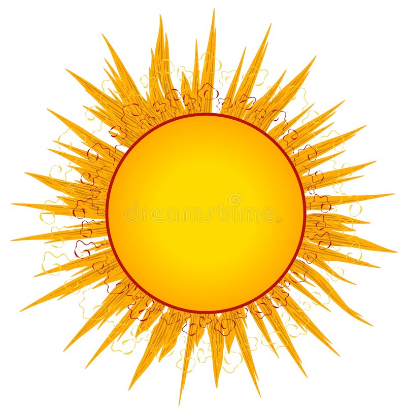 Sun Sunrays Clip Art or Logo royalty free illustration