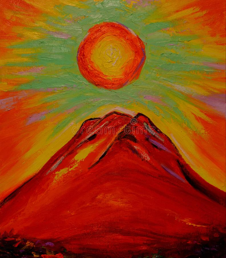 Sun of sunrise and Red Mt.Fuji Japan. Oil painting ,Sun of sunrise and Red Mt.Fuji Japan stock illustration