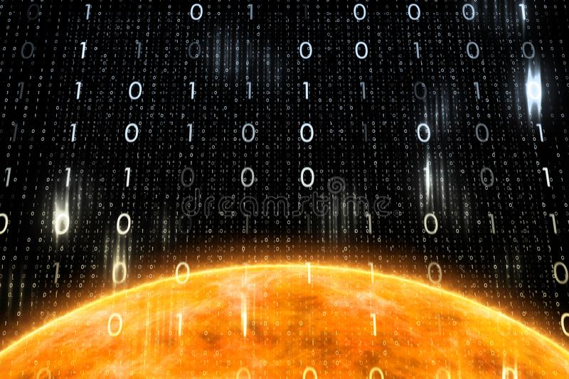 Sun surface and computer binary numbers royalty free illustration