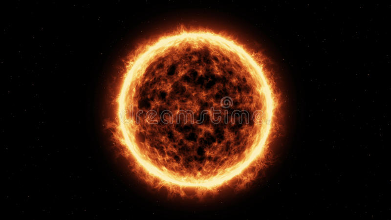Sun Surface And Solar Flares royalty free illustration