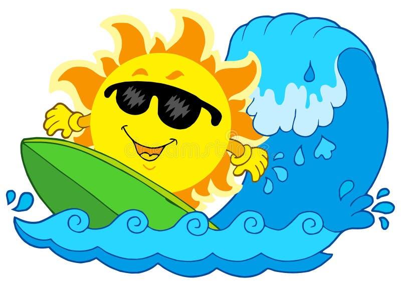 Sun surfando ilustração royalty free