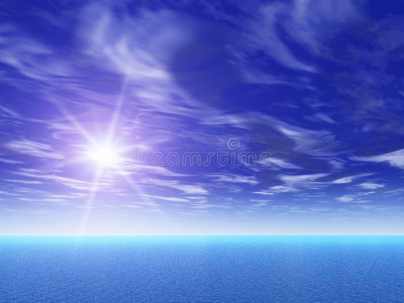 Sun surreale sopra il mare illustrazione di stock