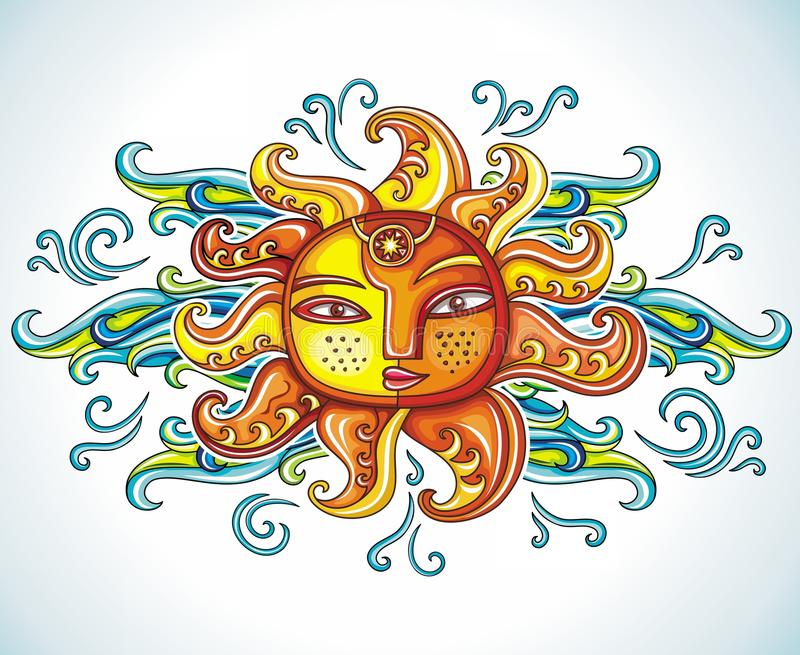 Sun symbol. With clouds. Vector illustration stock illustration