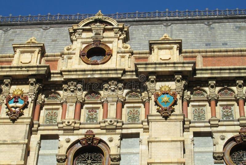 Sun symbol on Palacio de Aguas Corrientes in Buenos Aires stock image