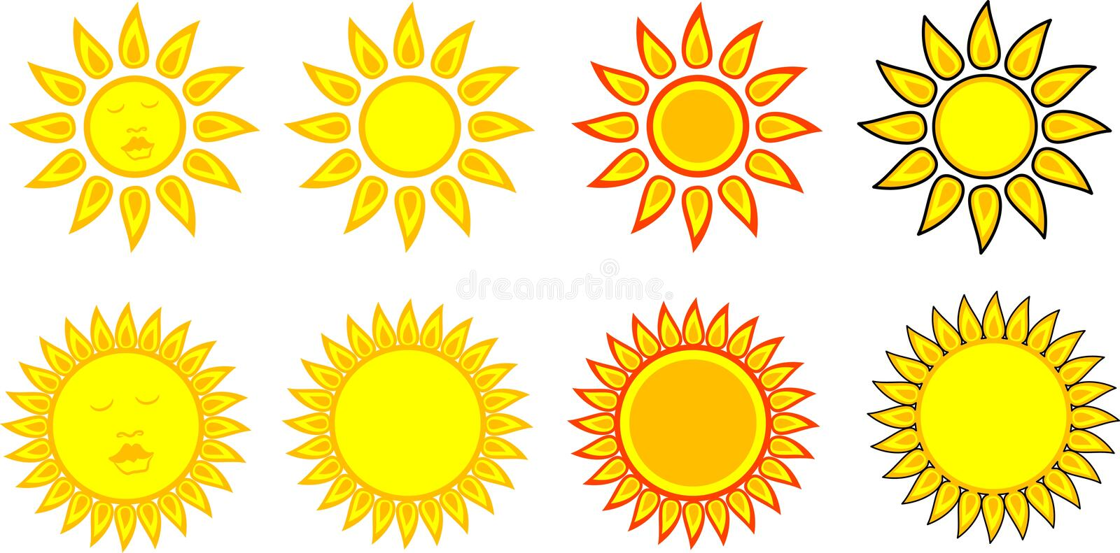 Download Sun Symbols stock vector. Image of face, heat, smile, summer - 3583057