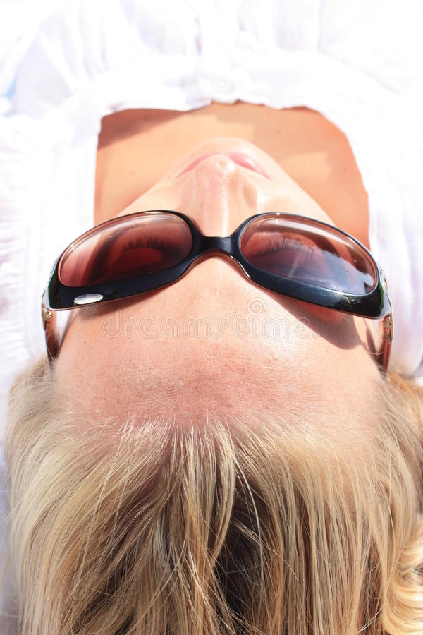 Download Sun tan stock image. Image of blonde, mouth, hair, lovely - 16821717
